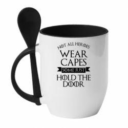 Кружка с керамической ложкой Not all heroes wear capes