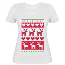 Женская футболка Новогодние узоры - FatLine