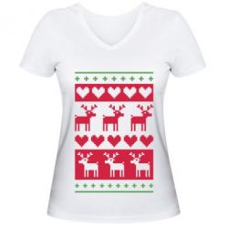 Женская футболка с V-образным вырезом Новогодние узоры - FatLine