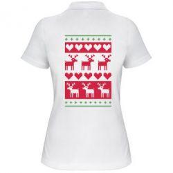 Женская футболка поло Новогодние узоры - FatLine