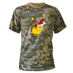 Камуфляжная футболка Новогодний котэ - FatLine