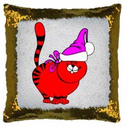 Подушка-хамелеон Новогодний котэ
