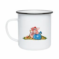 Кружка емальована Новорічна свиня з келихом шампанського