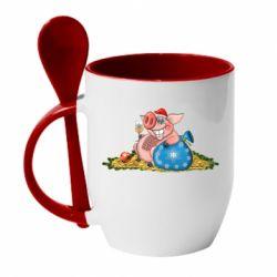Кружка з керамічною ложкою Новорічна свиня з келихом шампанського