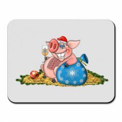 Килимок для миші Новорічна свиня з келихом шампанського