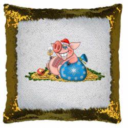 Подушка-хамелеон Новорічна свиня з келихом шампанського