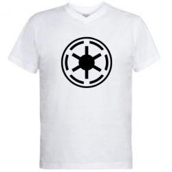 Мужская футболка  с V-образным вырезом Новый герб Империи - FatLine