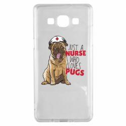 Чехол для Samsung A5 2015 Nurse loves pugs