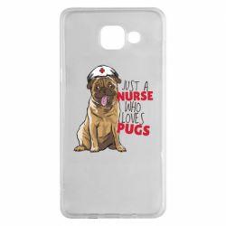 Чехол для Samsung A5 2016 Nurse loves pugs
