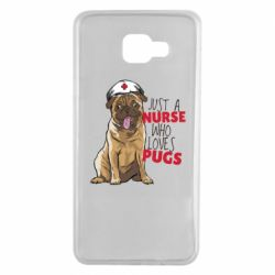 Чехол для Samsung A7 2016 Nurse loves pugs
