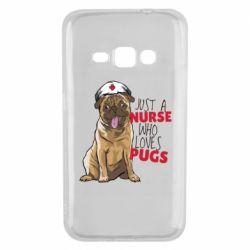 Чехол для Samsung J1 2016 Nurse loves pugs