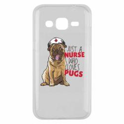 Чехол для Samsung J2 2015 Nurse loves pugs