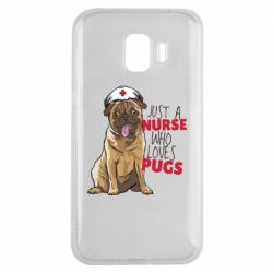 Чехол для Samsung J2 2018 Nurse loves pugs