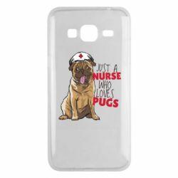Чехол для Samsung J3 2016 Nurse loves pugs