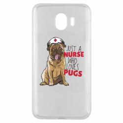 Чехол для Samsung J4 Nurse loves pugs
