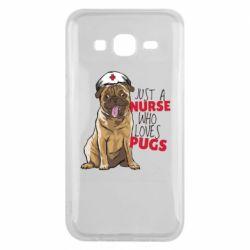 Чехол для Samsung J5 2015 Nurse loves pugs
