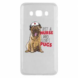Чехол для Samsung J5 2016 Nurse loves pugs