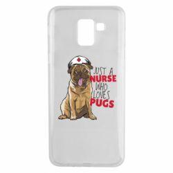 Чехол для Samsung J6 Nurse loves pugs