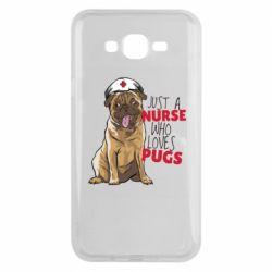 Чехол для Samsung J7 2015 Nurse loves pugs
