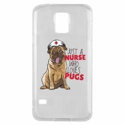 Чехол для Samsung S5 Nurse loves pugs