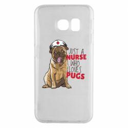 Чехол для Samsung S6 EDGE Nurse loves pugs
