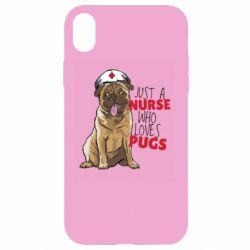 Чехол для iPhone XR Nurse loves pugs