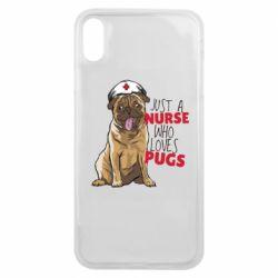 Чехол для iPhone Xs Max Nurse loves pugs