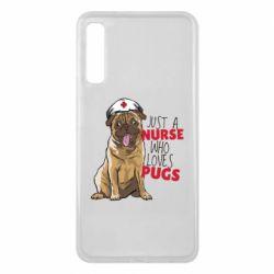 Чехол для Samsung A7 2018 Nurse loves pugs