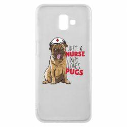 Чехол для Samsung J6 Plus 2018 Nurse loves pugs