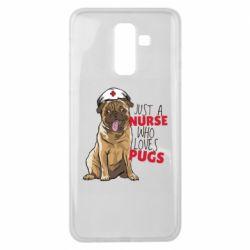 Чехол для Samsung J8 2018 Nurse loves pugs