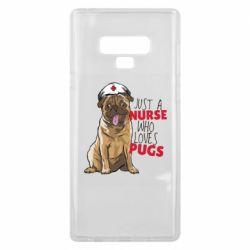 Чехол для Samsung Note 9 Nurse loves pugs