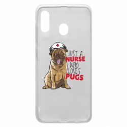 Чехол для Samsung A20 Nurse loves pugs
