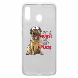 Чехол для Samsung A30 Nurse loves pugs