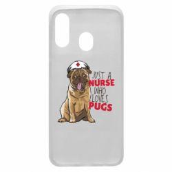 Чехол для Samsung A40 Nurse loves pugs