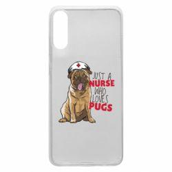 Чехол для Samsung A70 Nurse loves pugs