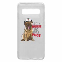 Чехол для Samsung S10 Nurse loves pugs