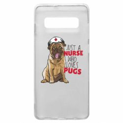 Чехол для Samsung S10+ Nurse loves pugs