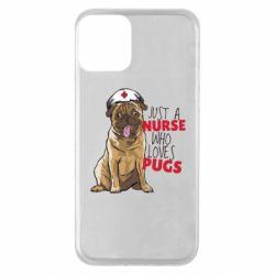 Чехол для iPhone 11 Nurse loves pugs