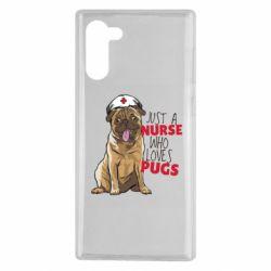 Чехол для Samsung Note 10 Nurse loves pugs