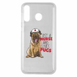 Чехол для Samsung M30 Nurse loves pugs
