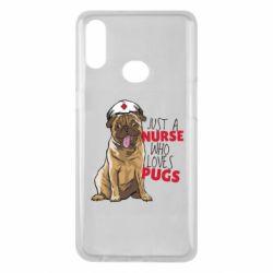 Чехол для Samsung A10s Nurse loves pugs