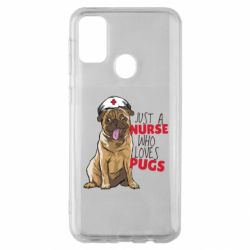 Чехол для Samsung M30s Nurse loves pugs