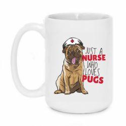 Кружка 420ml Nurse loves pugs