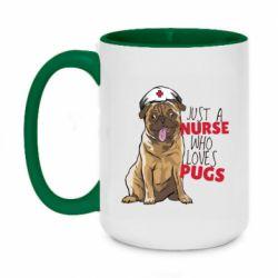 Кружка двухцветная 420ml Nurse loves pugs