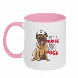 Кружка двухцветная 320ml Nurse loves pugs