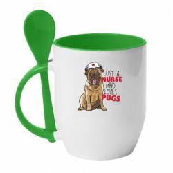 Кружка с керамической ложкой Nurse loves pugs