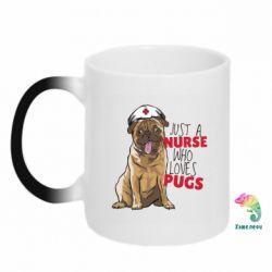 Кружка-хамелеон Nurse loves pugs