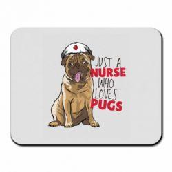 Коврик для мыши Nurse loves pugs