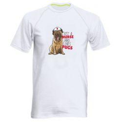 Мужская спортивная футболка Nurse loves pugs