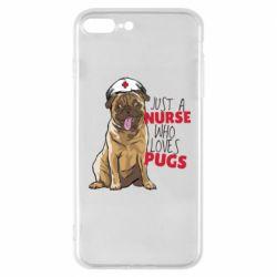 Чехол для iPhone 7 Plus Nurse loves pugs